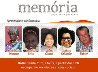 Peça de divulgação da live de lançamento da Memória Popular da Pandemia